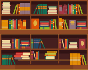 Vector bookcase flat illustration