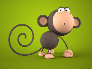 Cartoon monkey isolated on green  background 3D rendering