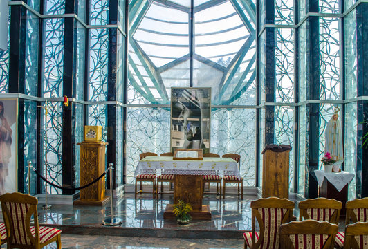 Chapel of The Mother Teresa Memorial House is dedicated to the humanitarian and Nobel Peace Prize laureate Mother Teresa in Skopje