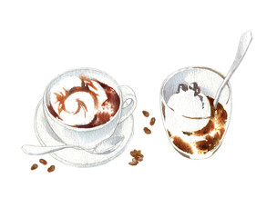 Coffee cups watercolor vector sketch.