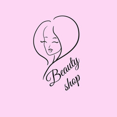 Beautiful woman's face (black outline and rose background): logo for a beauty shop (salon).