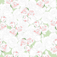 The illustration shows the seamless floral pattern with white and pink roses
