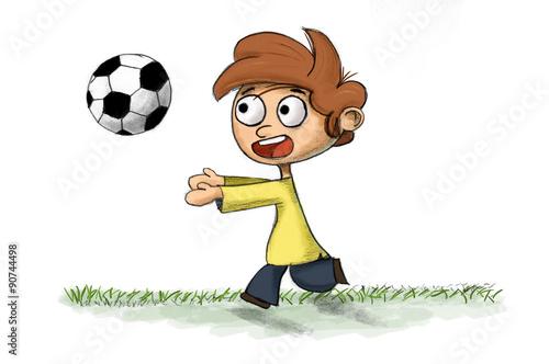"""""""Niño Corriendo Jugando Al Futbol"""" Fotos De Archivo E"""