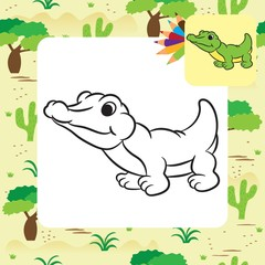 Cartoon crocodile. Coloring page. Vector illustration.