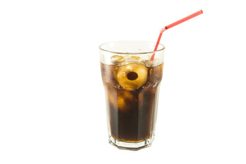 Glass of cola red straw with roll ice isolate white background