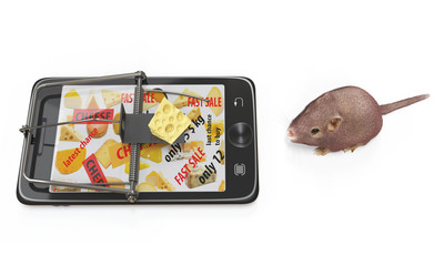 virtual cheese. smartphone as mousetrap and mouse advertising concept