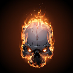 Skull in fire illustration