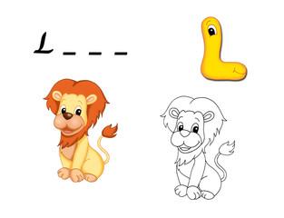 alfabeto cartoon, l