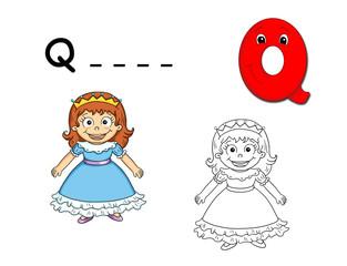 alfabeto cartoon, q