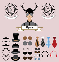 Hipster Character Elements Design