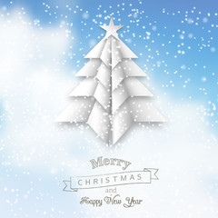 White origami christmas tree on abstract sky, illustration