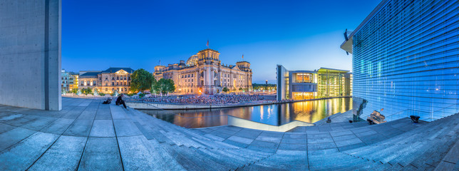 Poster Berlin Berlin government district with Reichstag and Paul Löbe Haus at dusk, Germany