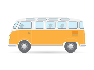 orange flat style isolated retro travel camper van car vector illustration transport icon