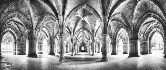 Cloister black and white panorama