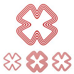 Red line brand logo design set