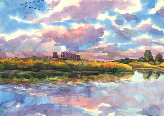 Landscape with new buildings on the shore of the lake. Watercolor painting