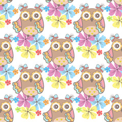 Beautiful seamless wallpaper with owls and flowers on a white background