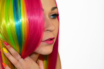 Beautiful model with hair rainbow