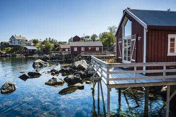 Rorbuer, fisherman house on stilts in Lofoten archipelago, Nusfjord, Norway.