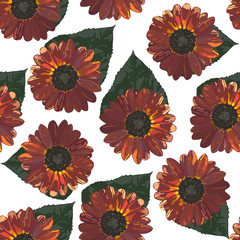 Seamless background with brown sunflowers and leaves. Vector illustration.