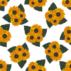 Seamless background with yellow sunflowers and leaves. Vector illustration.