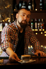 Portrait of handsome bartender at bar