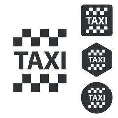 Taxi icon set, monochrome