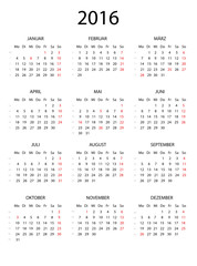 Jahreskalender 2016 schlicht