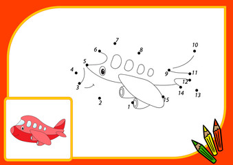 Funny cartoon aircraft. Connect dots and get image. Educational
