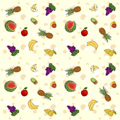 Seamless texture with fruits and berries. Vector background