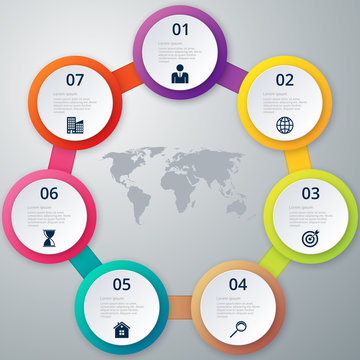 Vector illustration of a circle of seven infographics