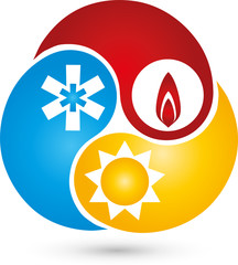 Drei Tropfen, Logo, Sonne, Schnee, Flame