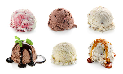 Ice cream scoops collage. Vanilla, chocolate and blueberry ice cream with mint and chocolate sauce topping