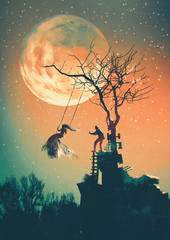 Halloween night background with man pushing woman on swing