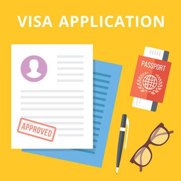 Visa application flat illustration concept. Top view