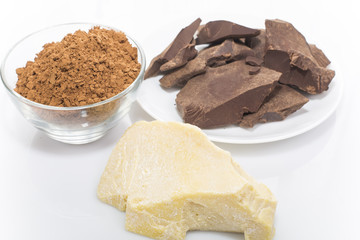 grated cocoa and cocoa butter