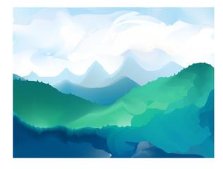 Panorama vector illustration of mountain ridges