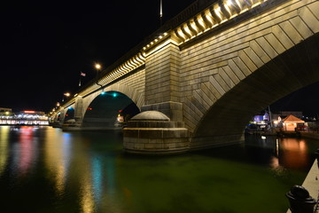 London Bridge at Lake Havasu in Arizona on a summer night.