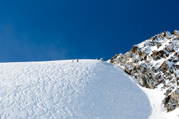 Off piste ski tracks on powder snow