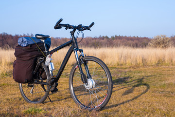 touristic bicycle in a prairie