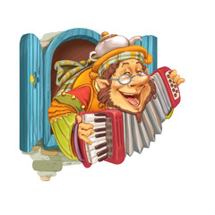 Elf plays cheerful music on an accordion.