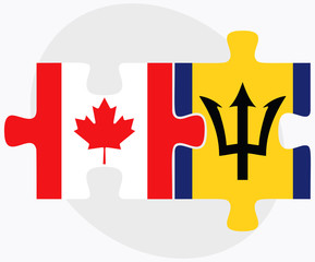 Canada and Barbados Flags