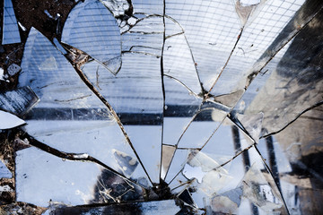 Broken mirrors left in the desert near Joshua Tree California.