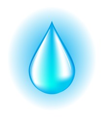 Blue realistic vector water drop on white and blue background.