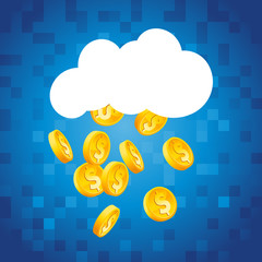 Cloud raining gold dollar coins on blue pixel background