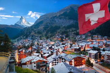 Zermatt village with the peak of the Matterhorn in the Swiss Alps Wall mural
