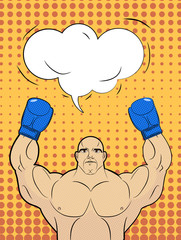 Boxer-style pop art with a bubble over his head. Strong man rais