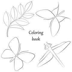 Coloring book with unsects and plant