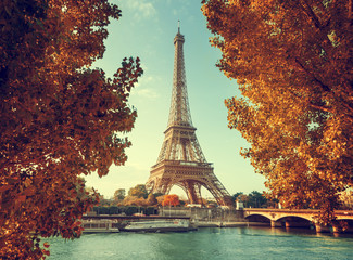 Seine in Paris with Eiffel tower in autumn time Wall mural