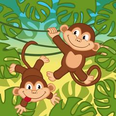 monkey in jungle - vector illustration, eps